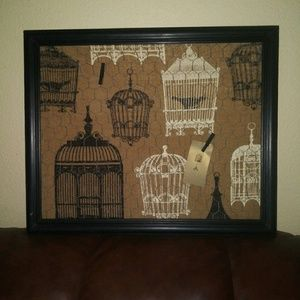 Shabby Frame made of Burlap of Bird cages. Holds P
